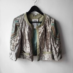 Anthropologie Embellished Velvet Jacket Luxe